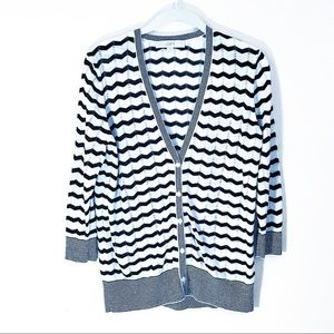 Ann Taylor Loft black and white chevron cardigan